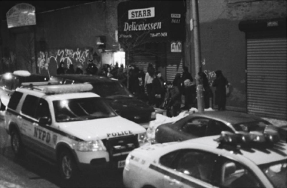 Cops arrived at the first pop-up! Pop-Up Bushwick, Brooklyn, NY January 2011