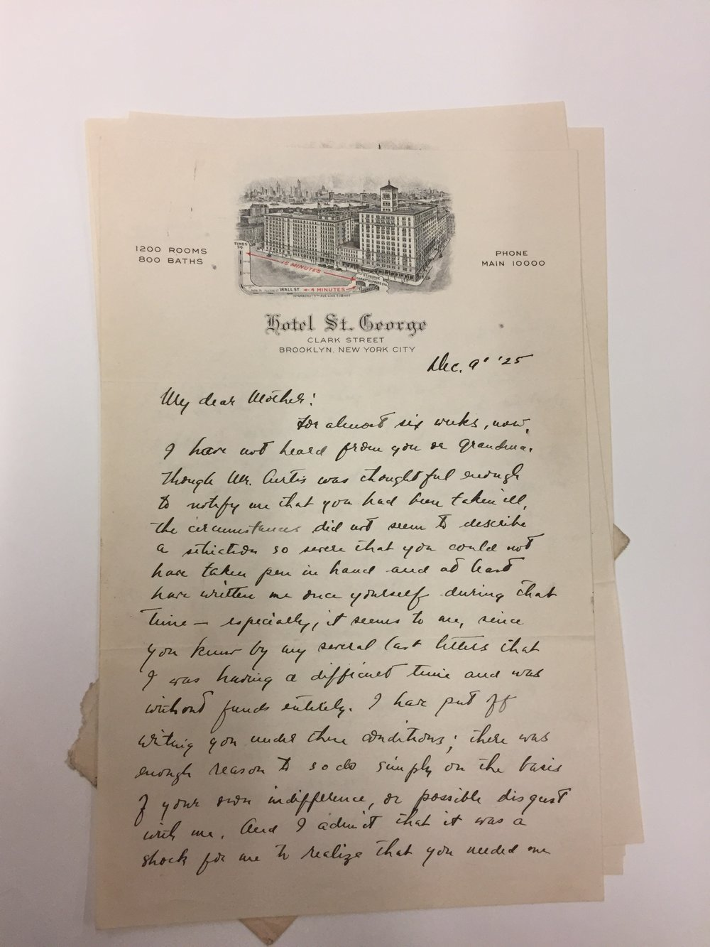 A letter written by Hart Crane, while living at the St. George Hotel in Brooklyn Heights