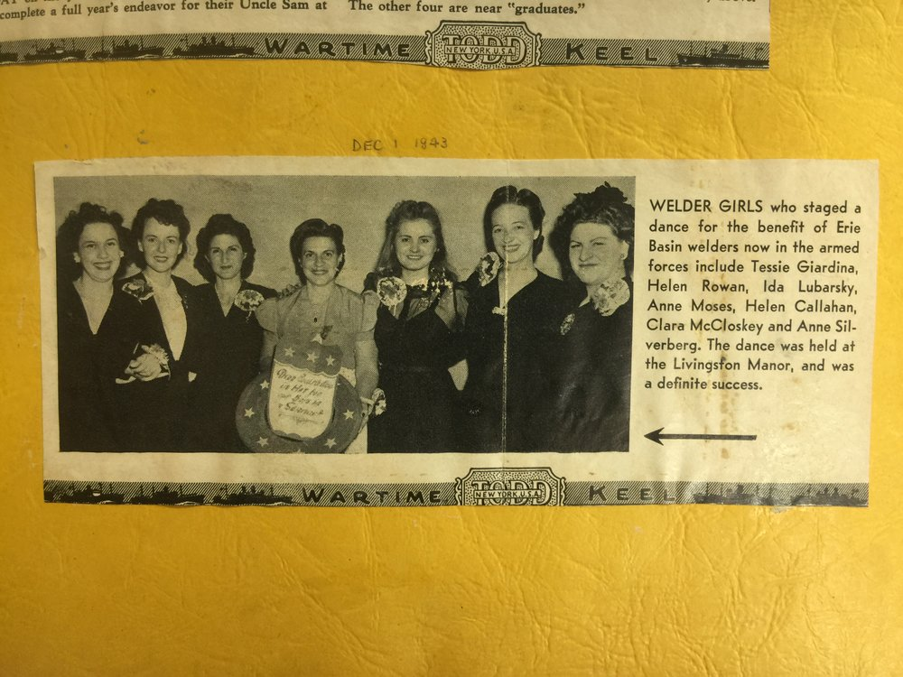 Scrapbook from Anne Moses, who worked at the Todd Shipyard in Brooklyn during WWII