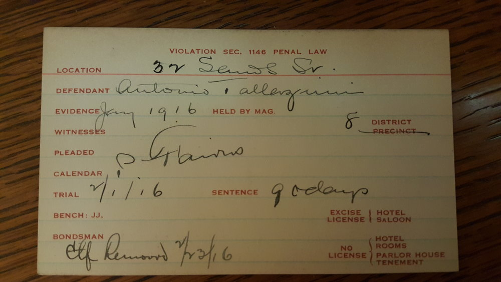 Arrest card from a 1916 gay bar bust on Sands Street