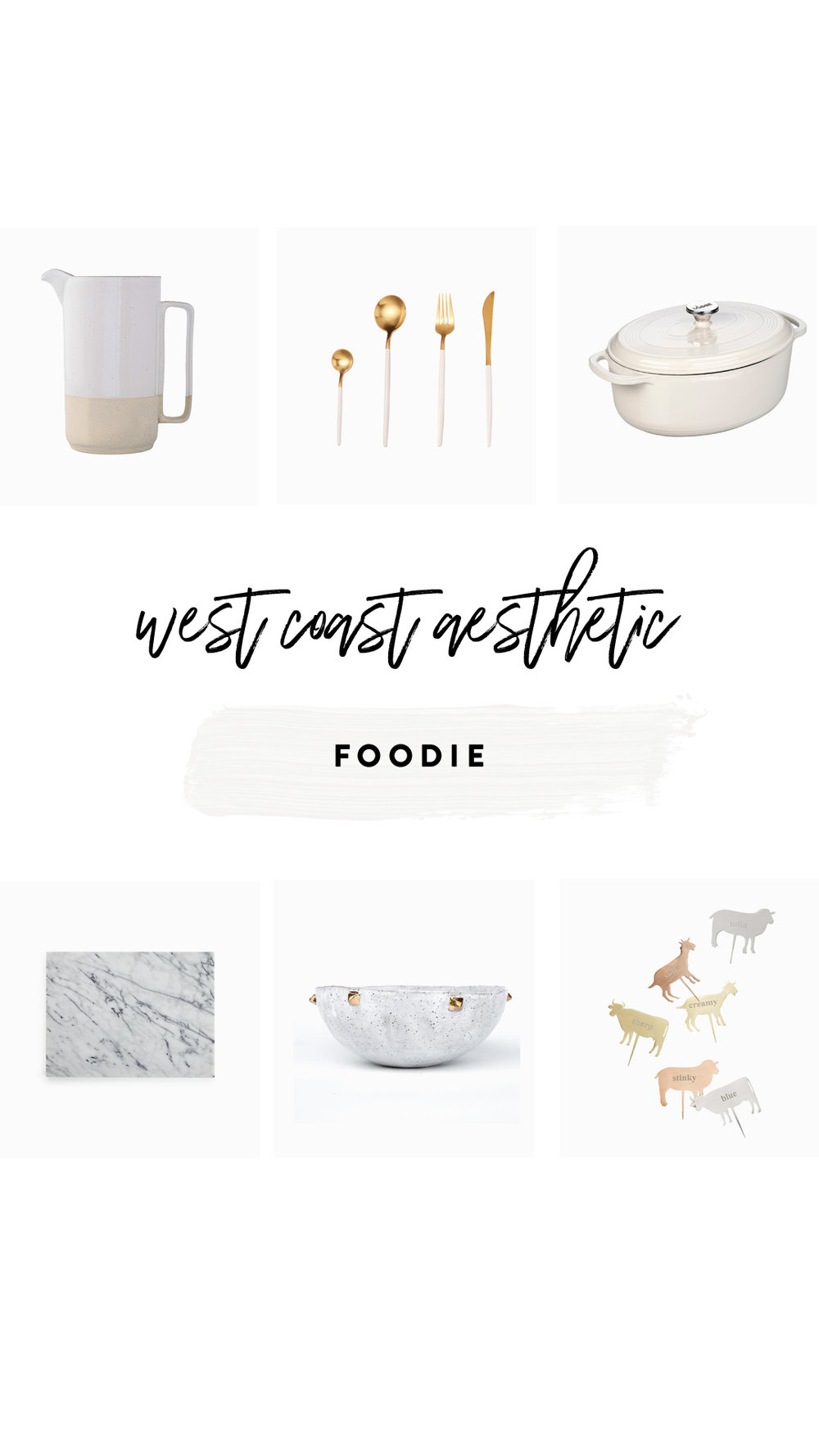 1.   Pitcher   | 2.   Flatware   | 3.   Dutch Oven   | 4.   Marble Pastry Slab   | 5.   Accent Bowl   | 6.   Cheese Markers