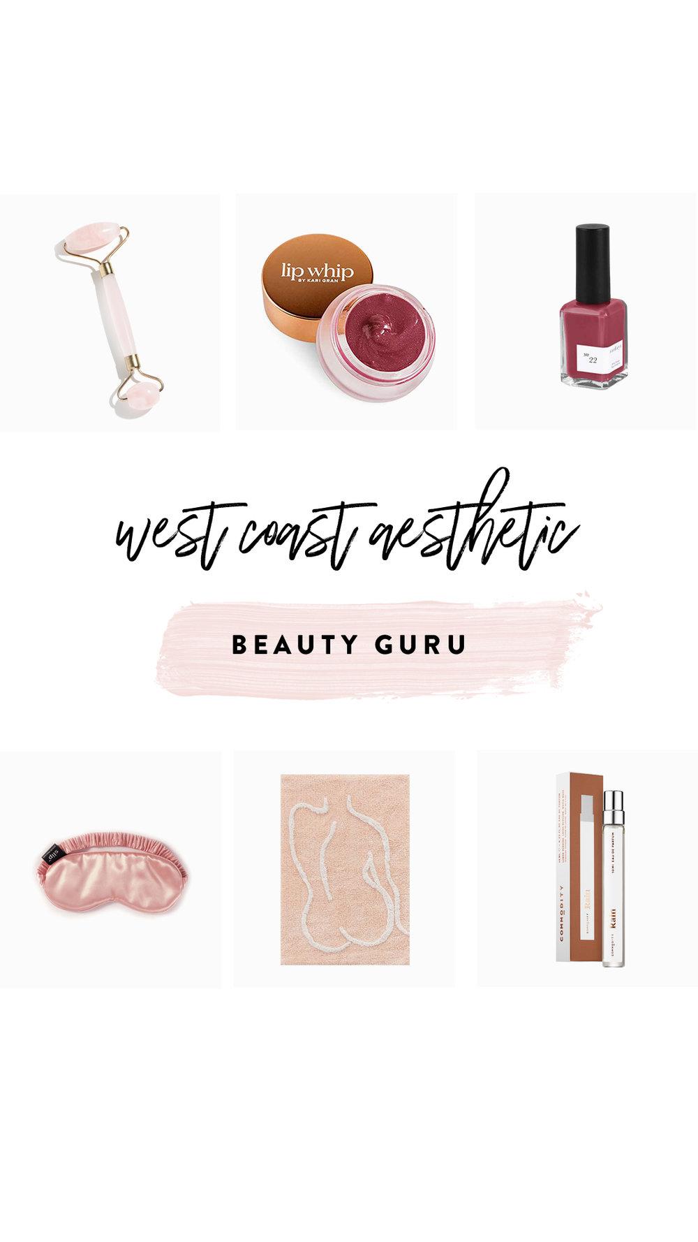 1.   Rose Quartz Roller   | 2.   Lip Whip   | 3.   Sundays Nail Polish   | 4.   Silk Sleeping Mask   | 5.   Bath Mat     | 6.   Commodity Perfume (Travel Size)