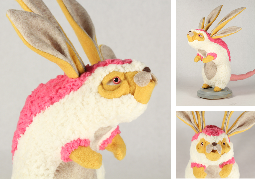"Original plush art by Alisa Ross for ""Myths and Mounts"" at Windhorse Gallery."