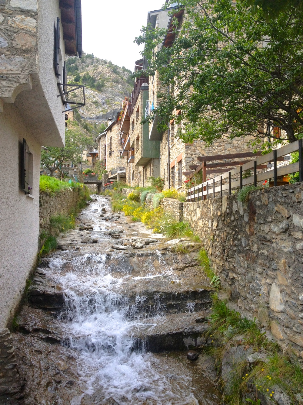 A stream running through Canillo, Andorra.