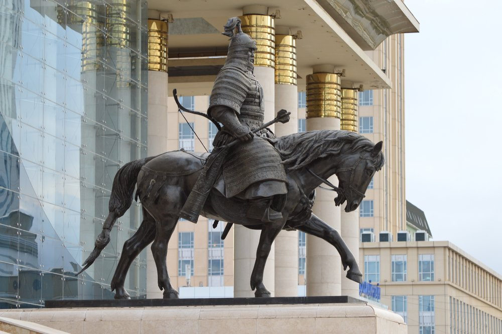 Statue of Ögedei Khaan on horseback