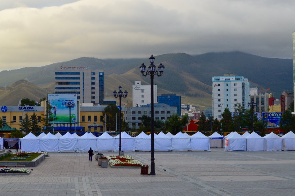 Highrise buildings and a market in Chinggis Square
