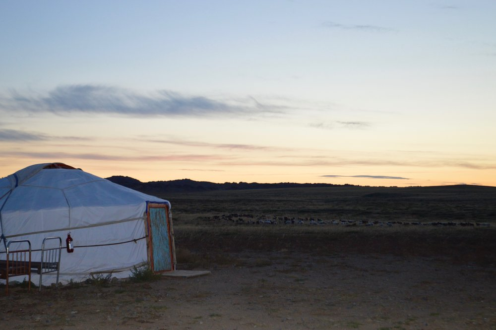 Sunset behind one of the gers (yurts)