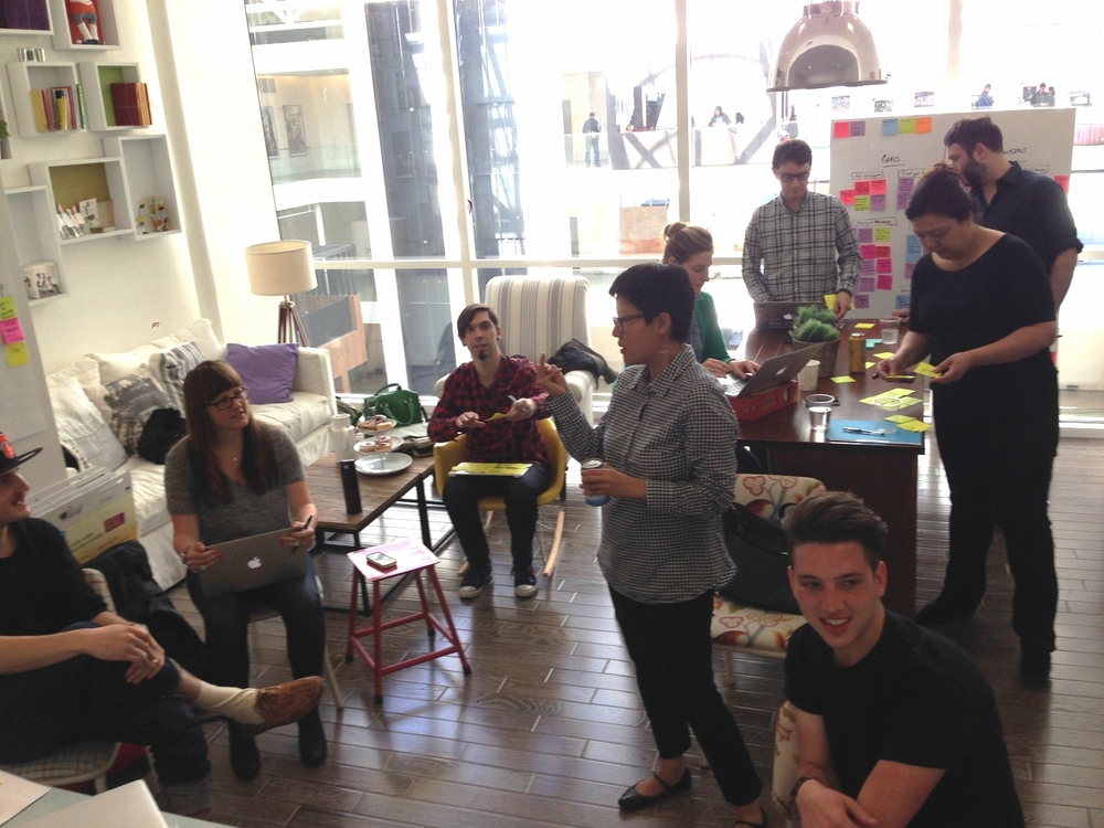 Cross-team collaboration sessions at Airbnb with dev, brand, design and UX