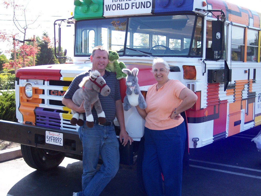 RWF bus driver Ed Johnson with Ellen Hensen of Animal Beacons of Light - RWF has distributed thousands of stuffed animals to children during our humanitarian aid trips. These huggable friends were headed to children in Tijuana, Mexico.