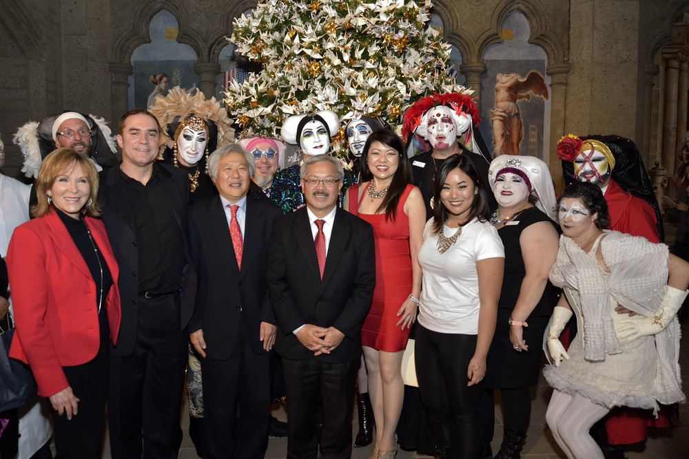 Promoting peace and global unity at the 2014 RWF World Tree of Hope - Cheryl Jennings, Jeff Cotter, Consul General of Japan Masato Watanabe, San Francisco Mayor Ed Lee, Linda Mihara and the Sisters of Perpetual Indulgence.