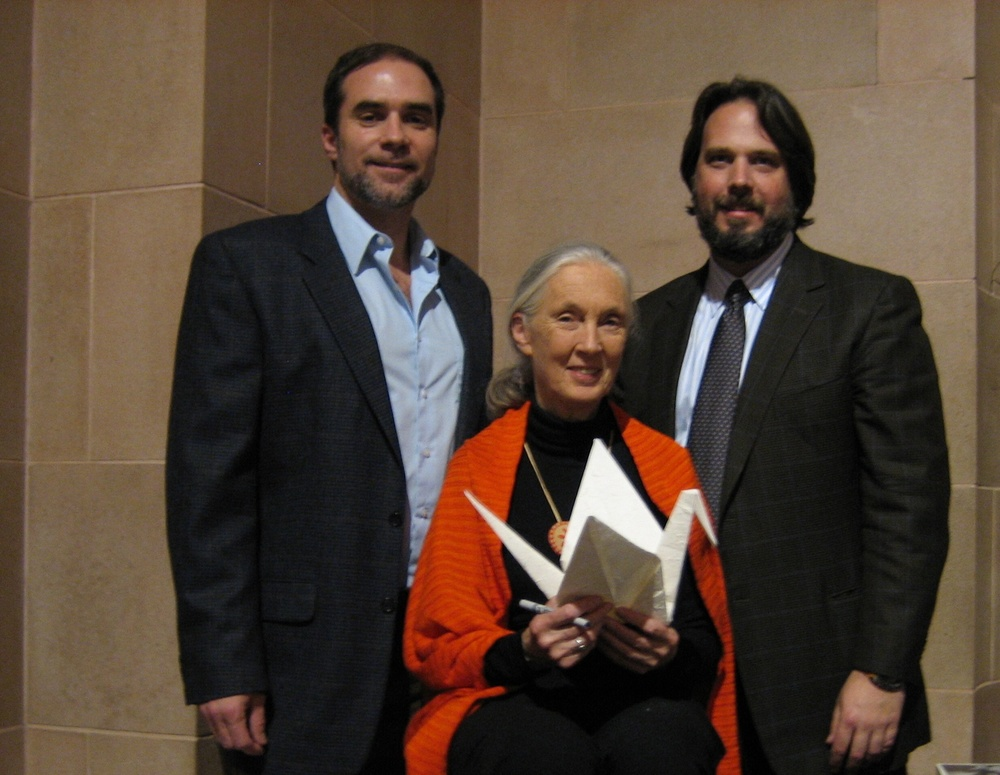 "RWF Founder Jeff Cotter, Dame Jane Goodall with her wish for the tree, and Paul Stankiewicz   ""I dare to wish for a world in which people live in harmony with each other and the natural world""   - Jane Goodall"