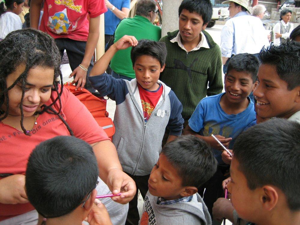 Amberjoy Leonard with children at an orphanage in San Antonio.