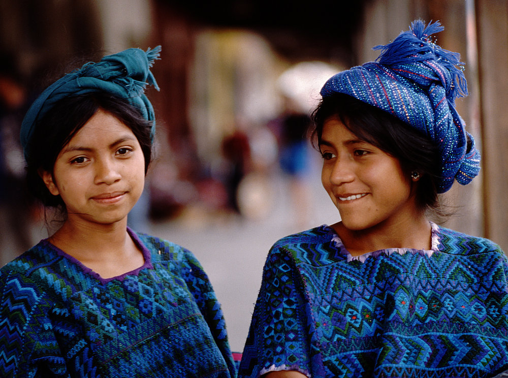 Guatemalan girls in their traditional clothing from the town of Santa Catarina Palopó on Lake Atitlán.