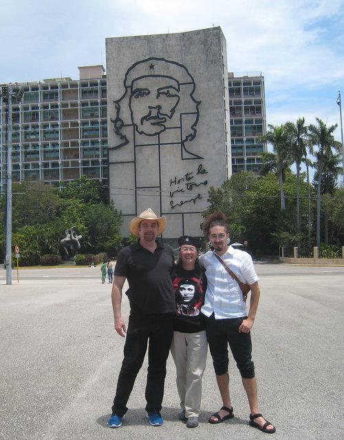 Rainbow World Fund board members Jeff Cotter, Karen Kai, and Javier Rivera-Rosales at Revolution Square in Havana, Cuba (2018)