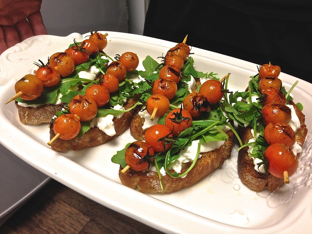 Burrata & Roasted Cherry Tomato Crostini by Kneading Home