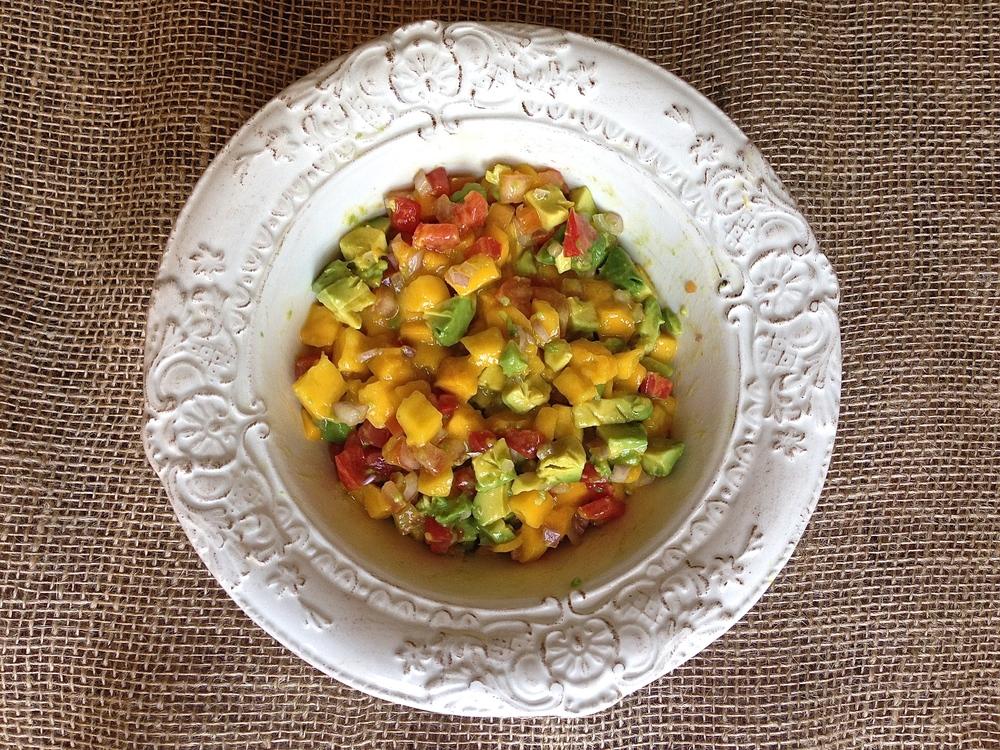 Crispy Coconut Eggplant with Avocado Mango Salsa | Kneading Home