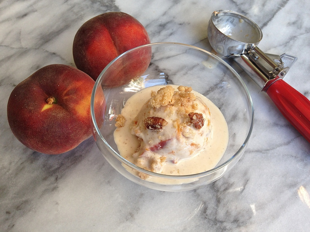 Peach Bourbon Pecan Cobbler Ice Cream {dairy-free} | Kneading Home