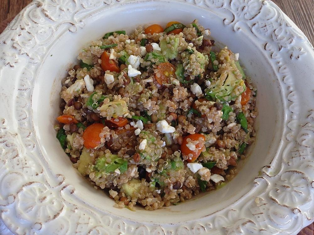 Bruschetta Avocado Feta Quinoa Protein Bowls | Kneading Home