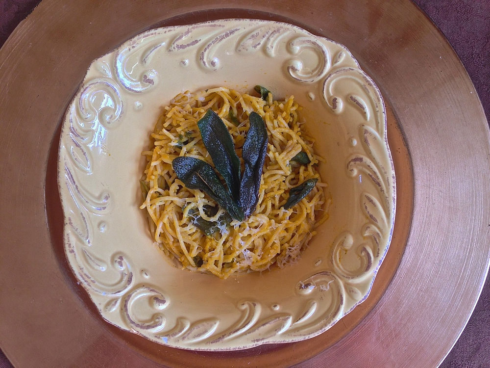 Creamy Butternut Squash Goat Cheese Pasta With Brown Butter & Crispy Sage | Kneading Home