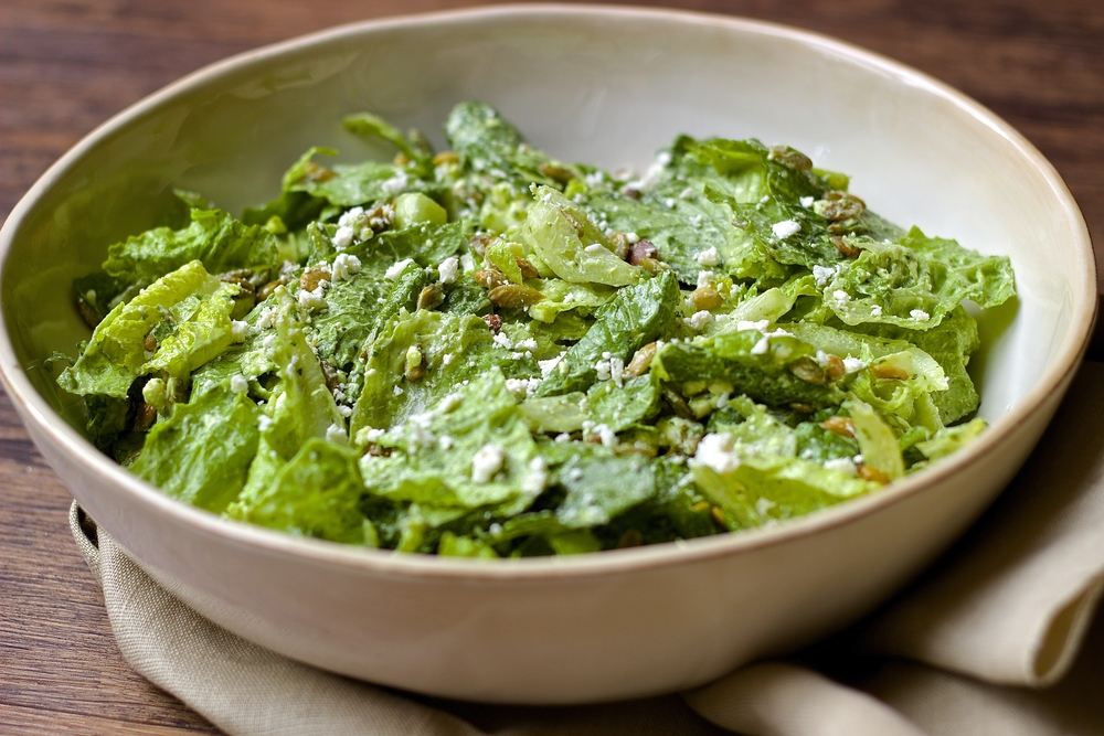 Simple Romaine Salad with Creamy Avocado Dressing, Toasted Pepitas & Feta | Kneading Home