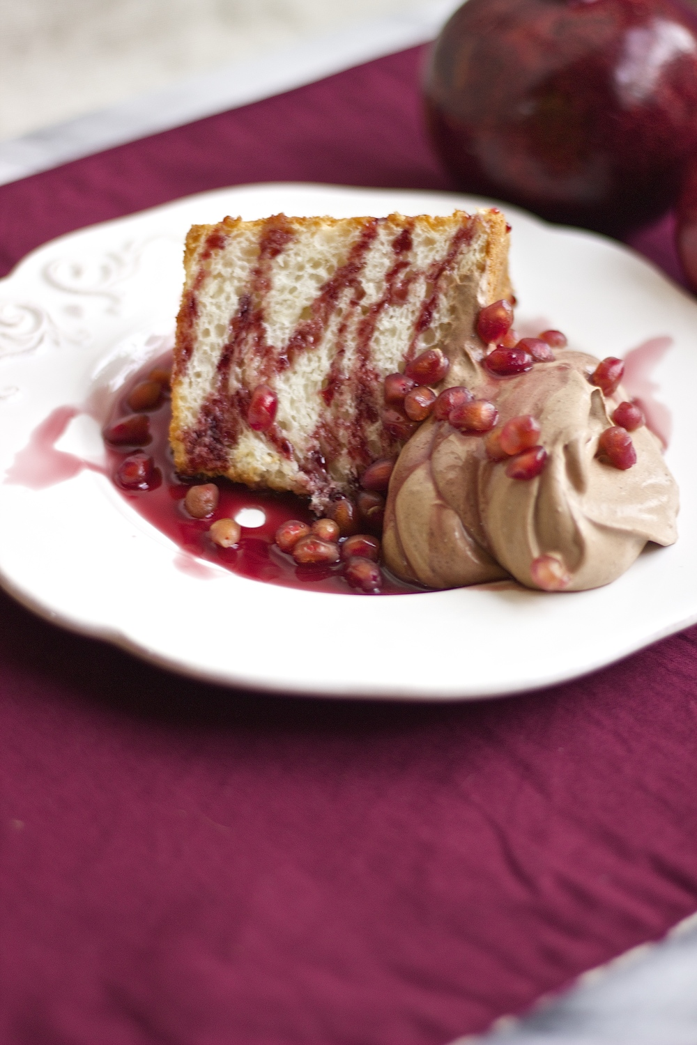 Angel Food Cake with Dark Chocolate Whipped Cream & Pomegranate Syrup | Kneading Home