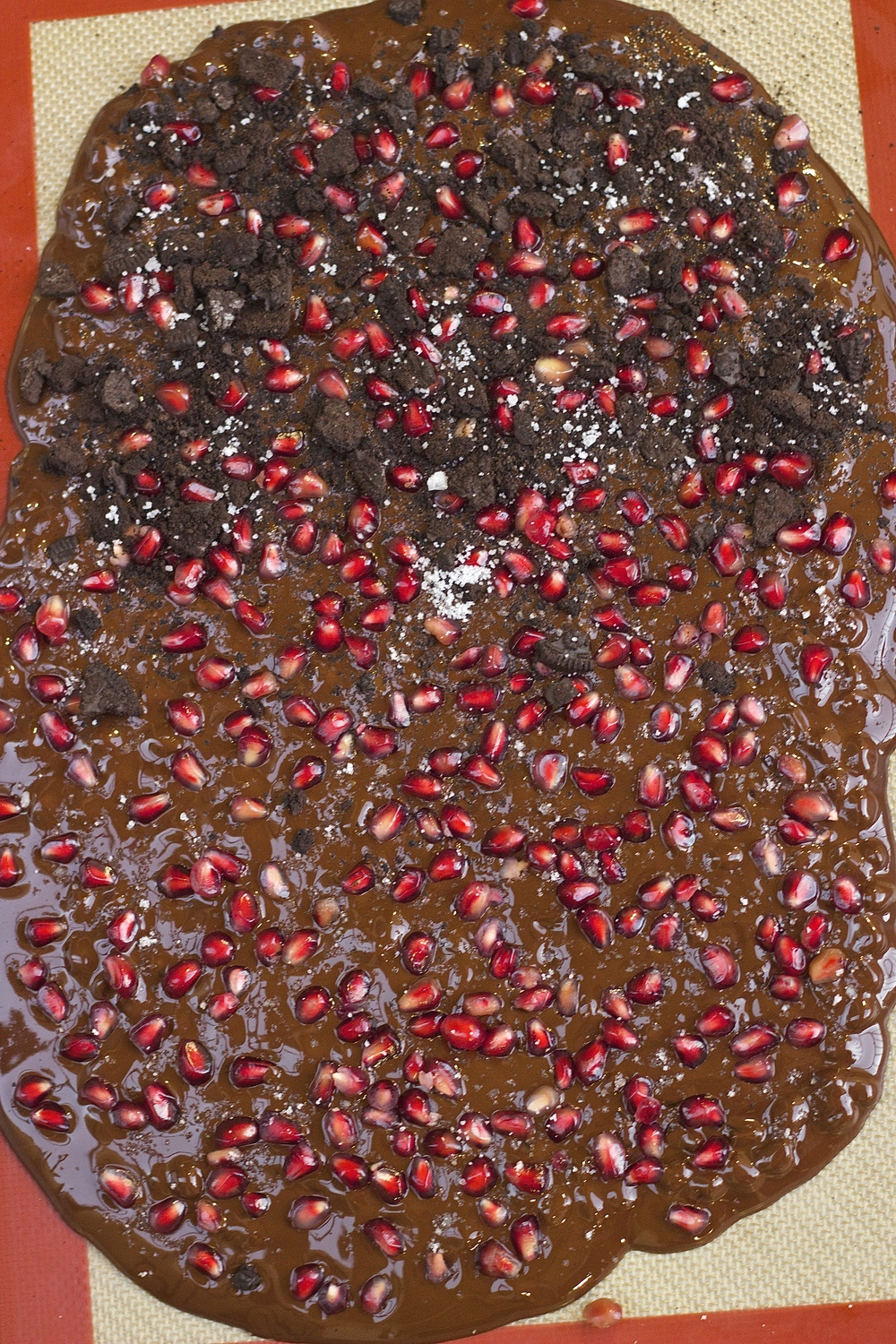 Dark Chocolate Bark with Pomegranate, Sea Salt, & Chocolate Cookie Crumbs | Kneading Home