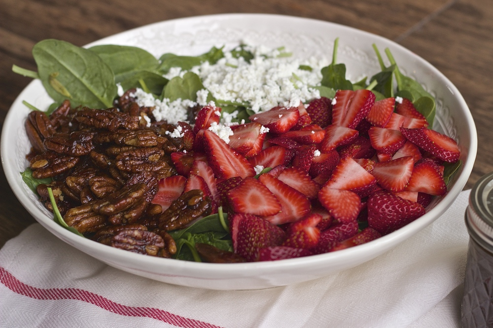 Strawberry Goat Cheese Salad with Maple Buttered Pecans in Balsamic Vinaigrette | Kneading Home