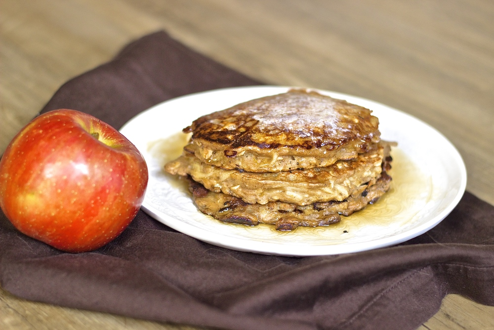 Spiced Apple & Oat Pancakes | Kneading Home