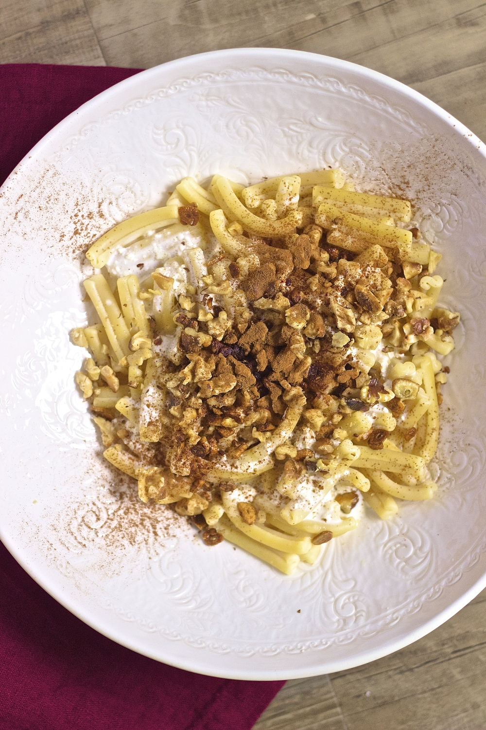 Fusilli with Whipped Feta, Cinnamon, & Crispy Garlic | Kneading Home
