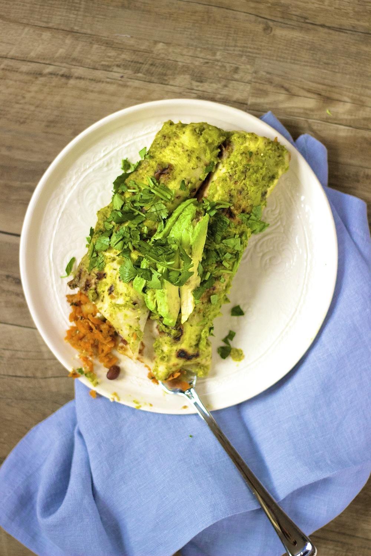 Shredded Sweet Potato & Black Bean Enchiladas | Kneading Home