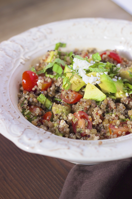 Avocado Bruschetta Quinoa Protein Bowls | Kneading Home