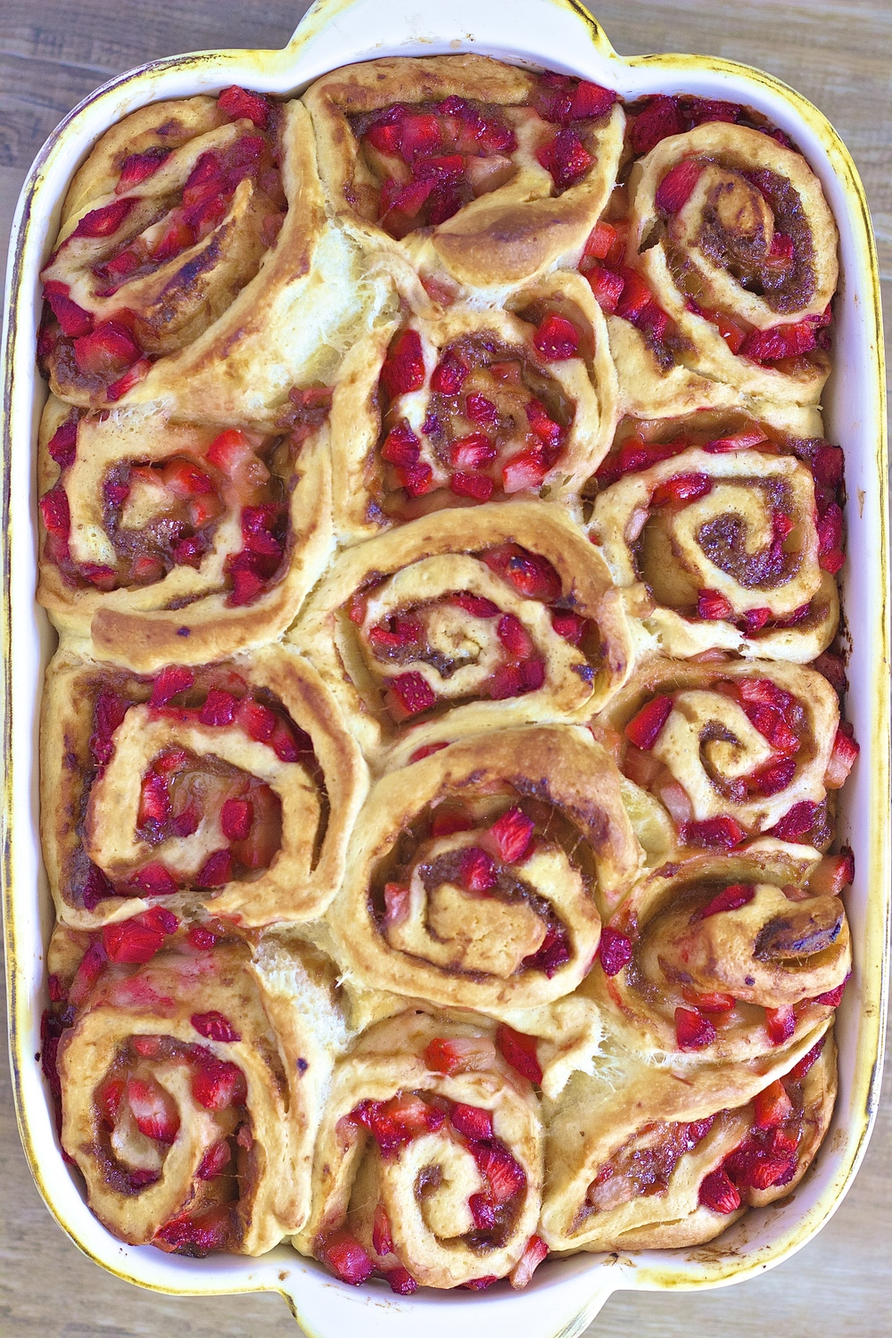 Strawberry Rhubarb Cinnamon Rolls | Kneading Home