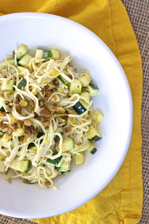 Creamy Lemon Pasta with Summer Squash {vegan} | Kneading Home