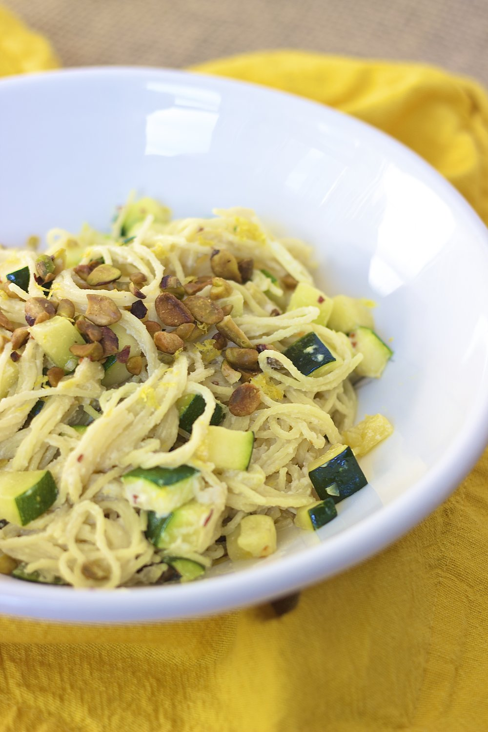 Creamy Lemon Pasta with Summer Squash {vegan} | Kneading Home