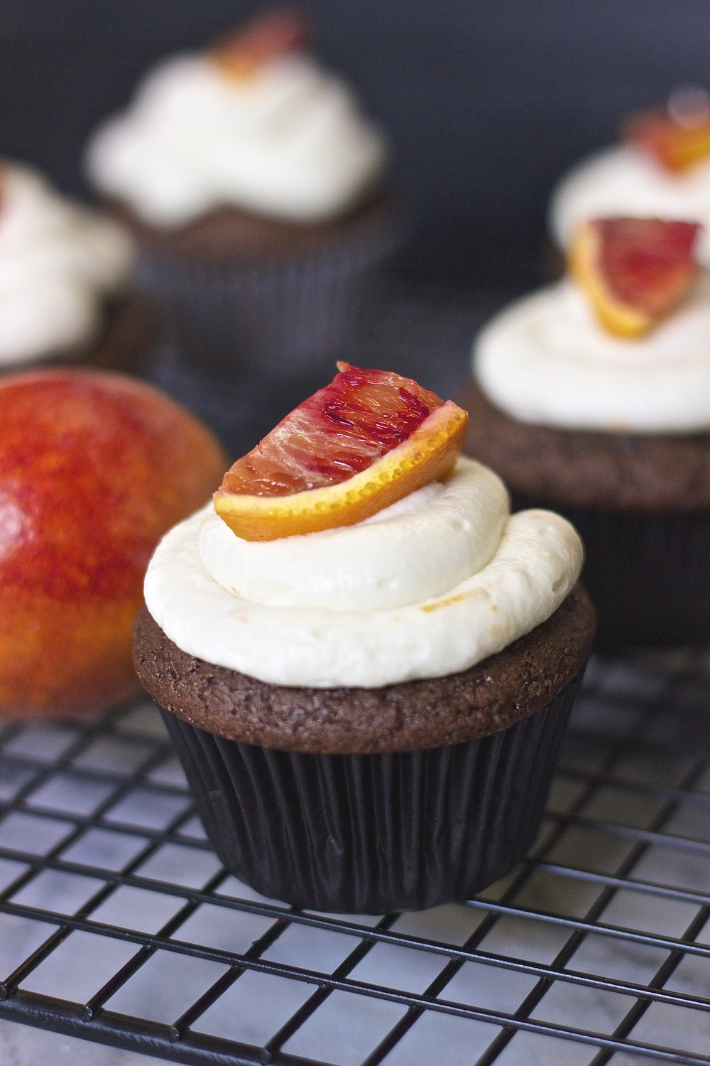 Chocolate Blood Orange Cupcakes with Coconut Cream Frosting {vegan} | Kneading Home