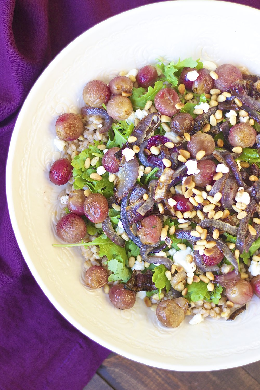 Roasted Grape Farro Salad with Caramelized Red Onions | Kneading Home