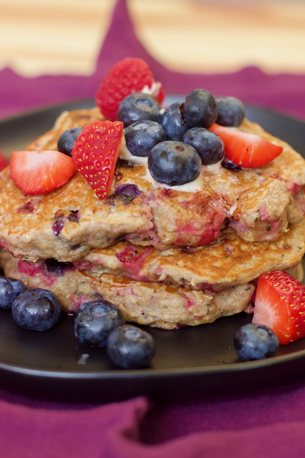 Triple Berry & Oat Pancakes | Kneading Home