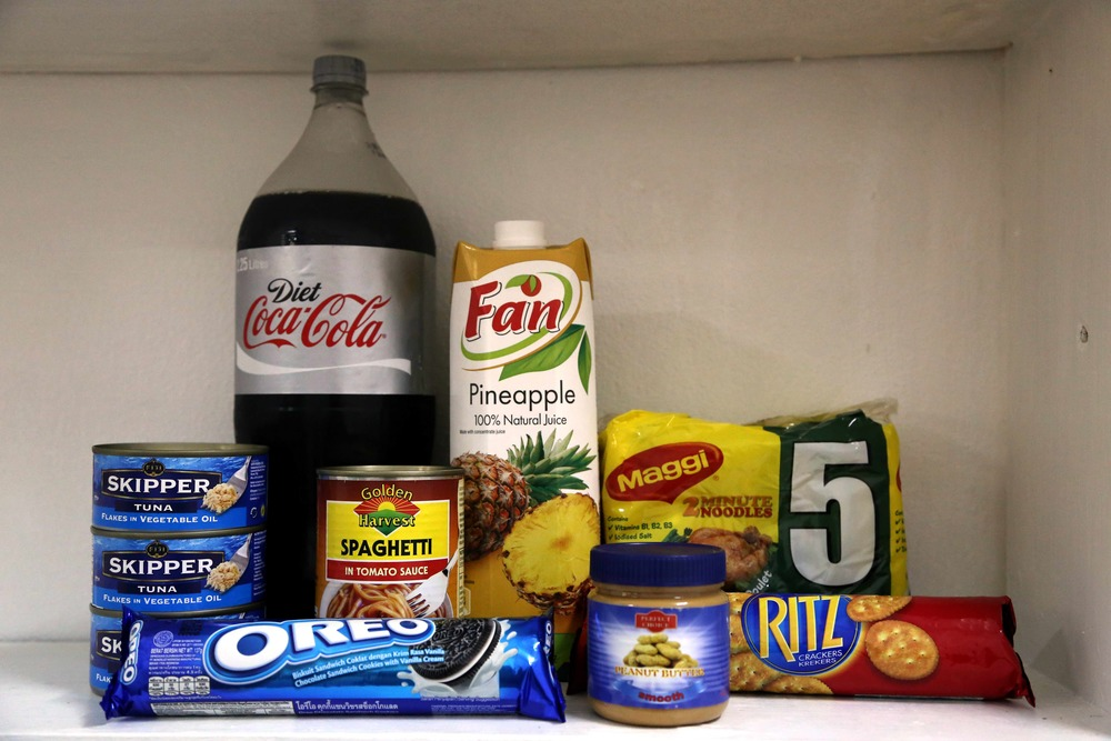 I only have a microwave and a mini-fridge (but one outlet, so only one can be plugged in at a time). Thankfully, my pantry has the essentials: Oreos and Diet Coke.