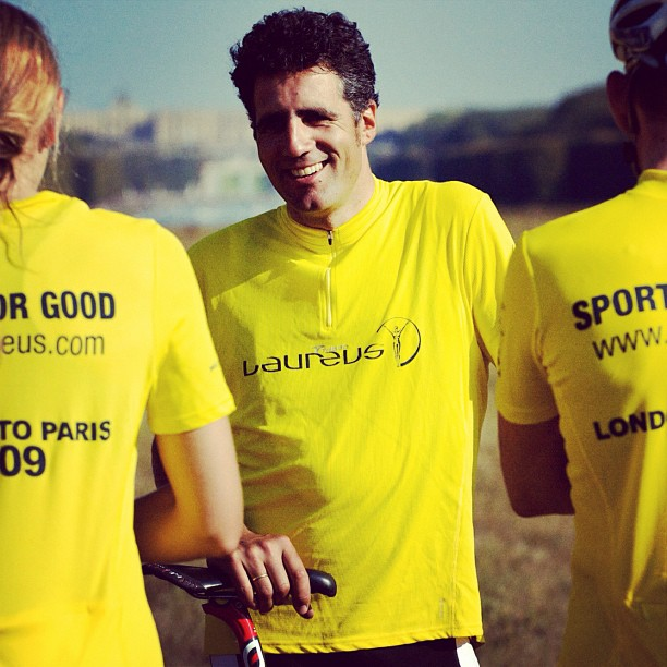 Tour de France legend Miguel Indurain supporting the Laureus Sport for Good Foundation London to Paris bike ride. Versailles, France. #cycle #cycling #bike #indurain #laureus #tourdefrance #sportforgood #paris #versaille
