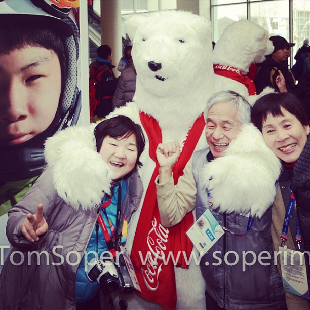 Having fun with a polar bear @SpecialOlympics World Winter Games, Korea.  www.soperimages.com