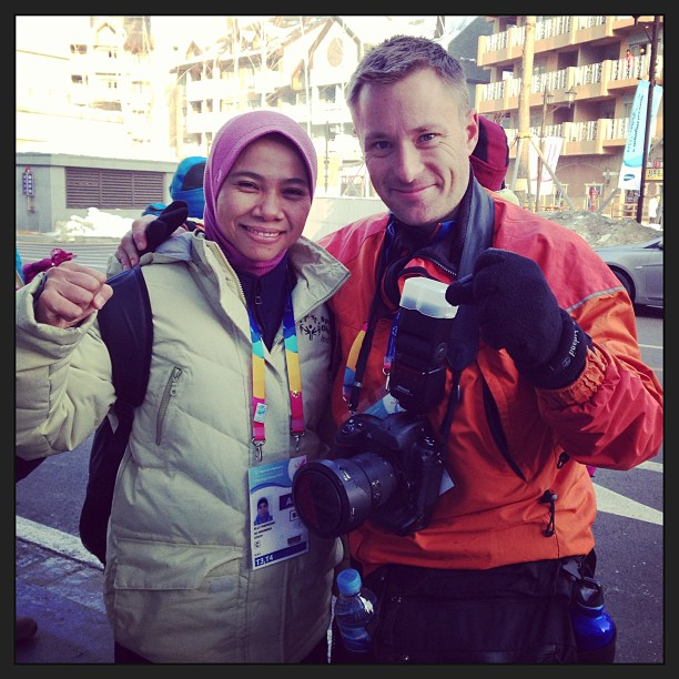 With Elly, an Indonesian snow shoeing coach who never saw snow before this week! Amazing. #specialolympics #korea2013