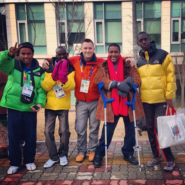 With Team Djibouti. Surely the coolest guys at #specialolympics World Winter Games #korea2013