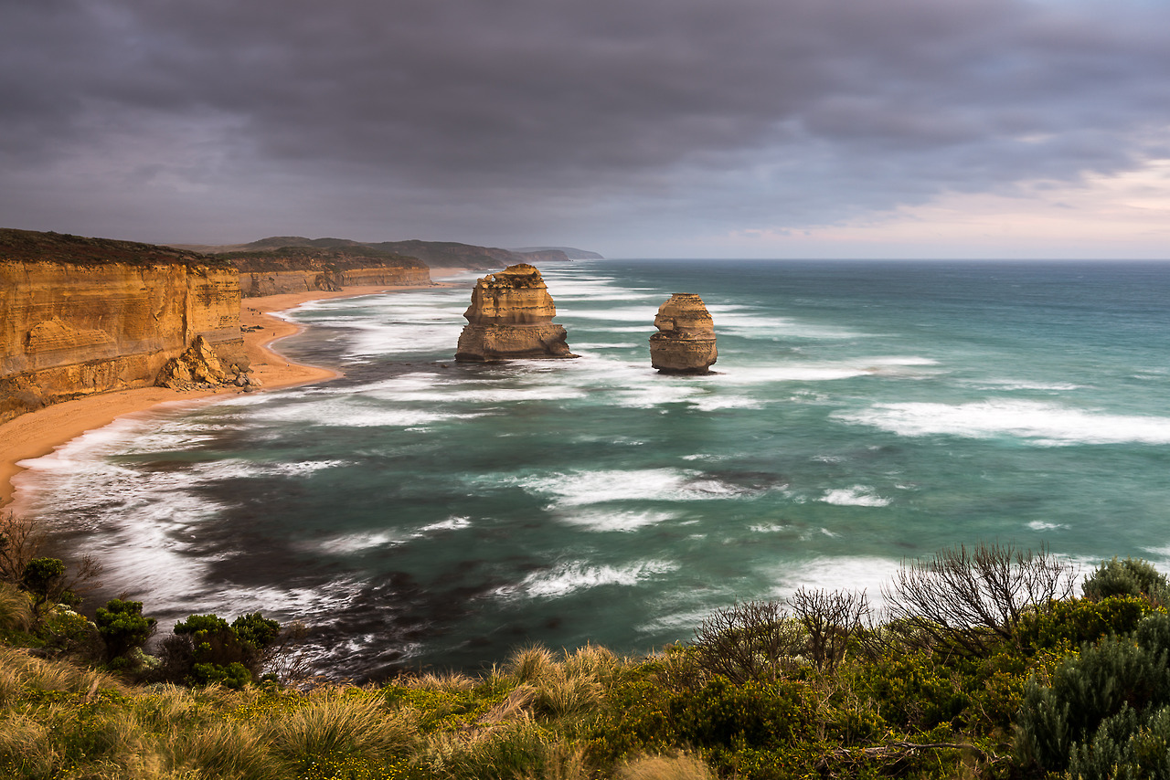 Two of the remaining outcrops of the original 12 Apostles in Victoria, Australia.   This image is available as a greeting card, canvas or print at  www.tomsoperphotography.com