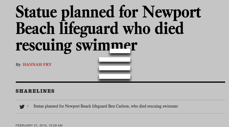 Statue planned for Newport Beach lifeguard