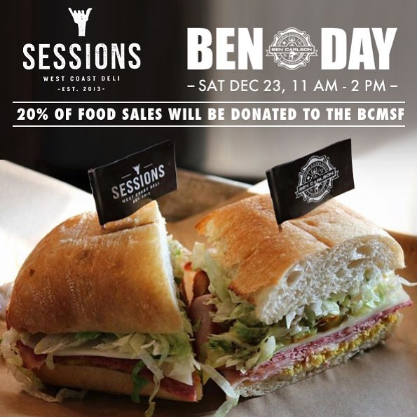 Today is BEN DAY at @sessionswestcoastdeli! Swing by the Newport location for a bite between 11am-2pm to support! 20% of all food sales will be donated to the BCMSF and they've also stocked up on all of our newest apparel for the last minute shoppers! Hope to see you there. // Thanks to @mattmeddock for always supporting Ben's legacy. 🙏🙌🇺🇸 // #bendidgo #benday #sessionswestcoastdeli