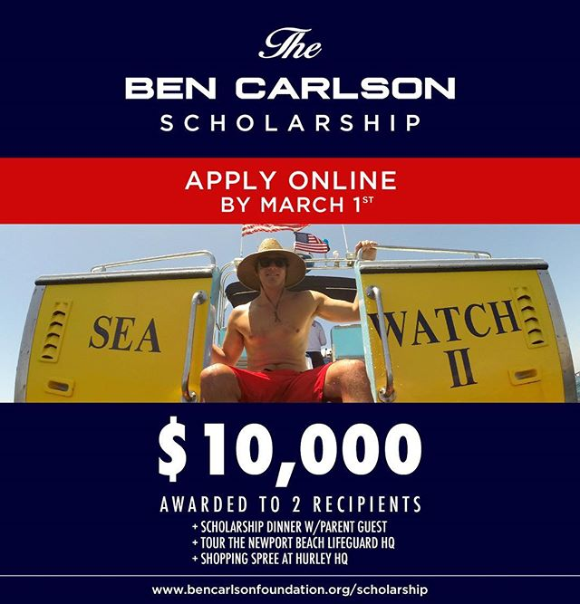 The 2018 Ben Carlson Scholarship is open and accepting applications for another 2 weeks! If you or any students that you know are interested in a $10,000 award towards a further education, please make sure to complete the online application by March 1st! Link in bio. // This years winners will travel to Newport Beach to be celebrated by our members at the annual Ben Carlson Scholarship dinner, followed by a personal tour of the Newport Beach Lifeguard Headquarters and a visit to Hurley HQ for an epic shopping spree! // We look forward to meeting this years well-deserving recipients and we thank you all for your continued support of Ben's heroic legacy! #BenCarlsonScholarship #bendidgo #scholarship #givingback