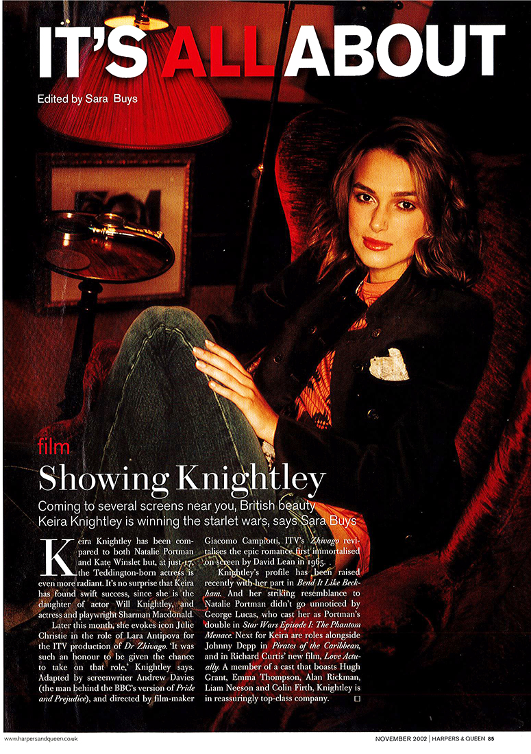 Keira Knightly for Harpers & Queen by Sean McMenomy