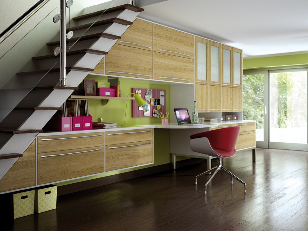 Custom homes offices, under stairs storage