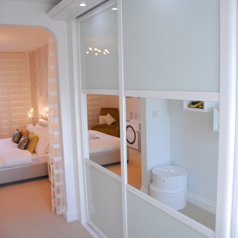 White framed sliding doors