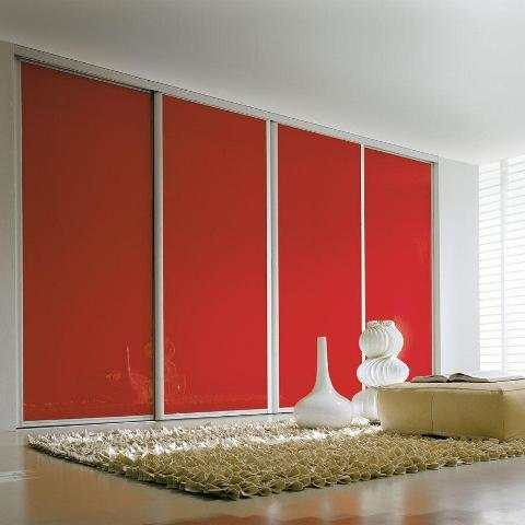 Bright red wardrobes
